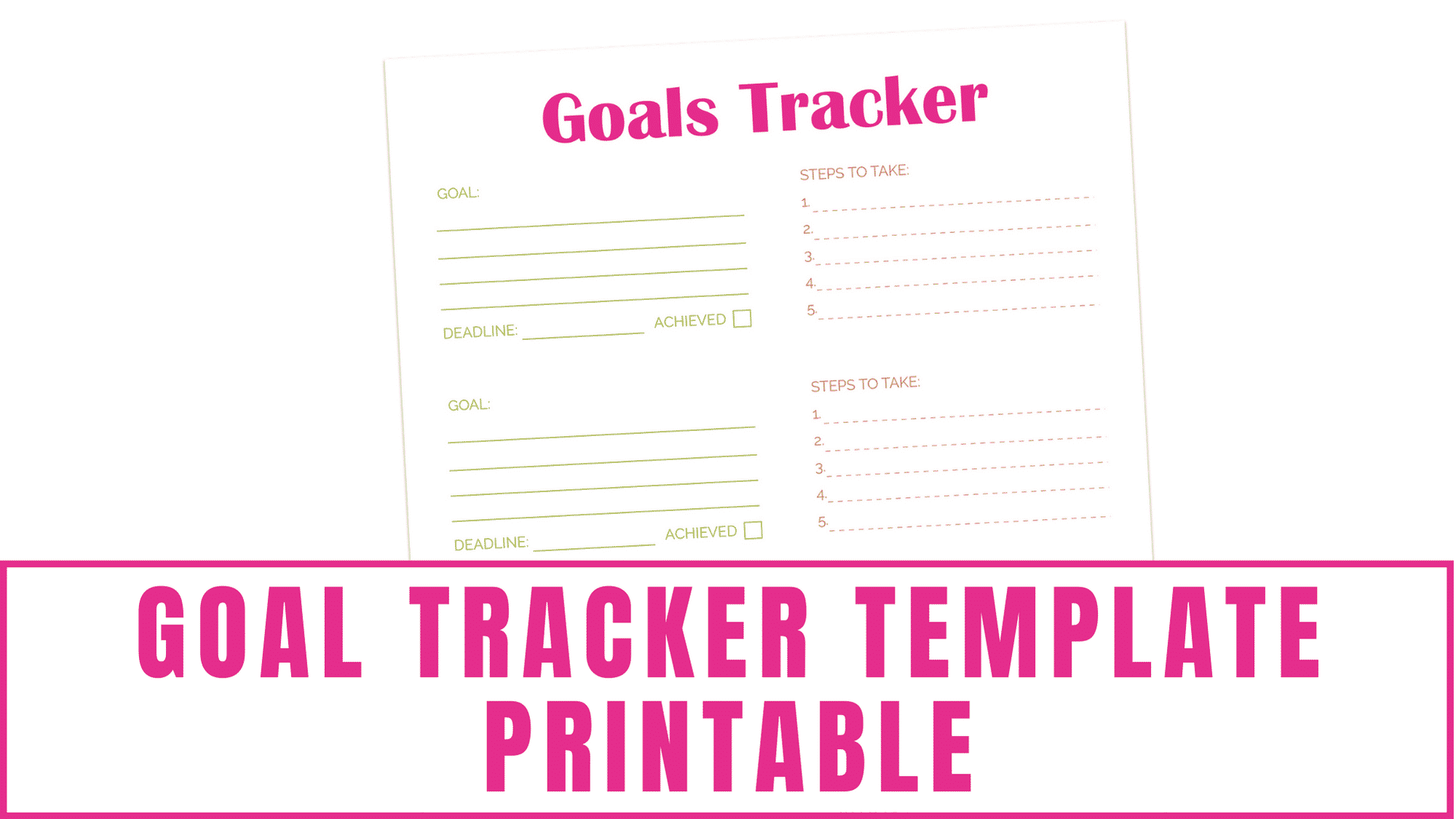 Do you set goals? Whether it's personal, professional, budgeting, or back to school goals this goal tracker template printable will allow you to record and track them so you have the highest probability of success.