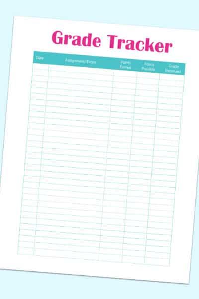 grade tracker printable