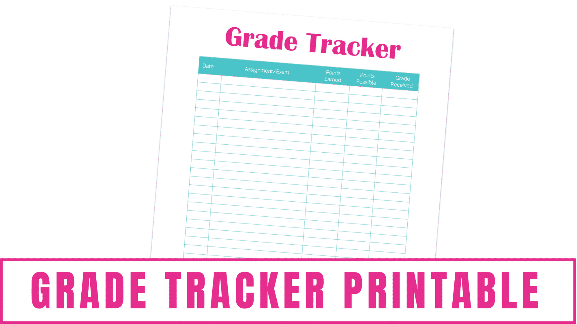 Do you or your student want to monitor their grades in school? The grade tracker printable included in the 13-page student planner printable lets you easily record your scores.