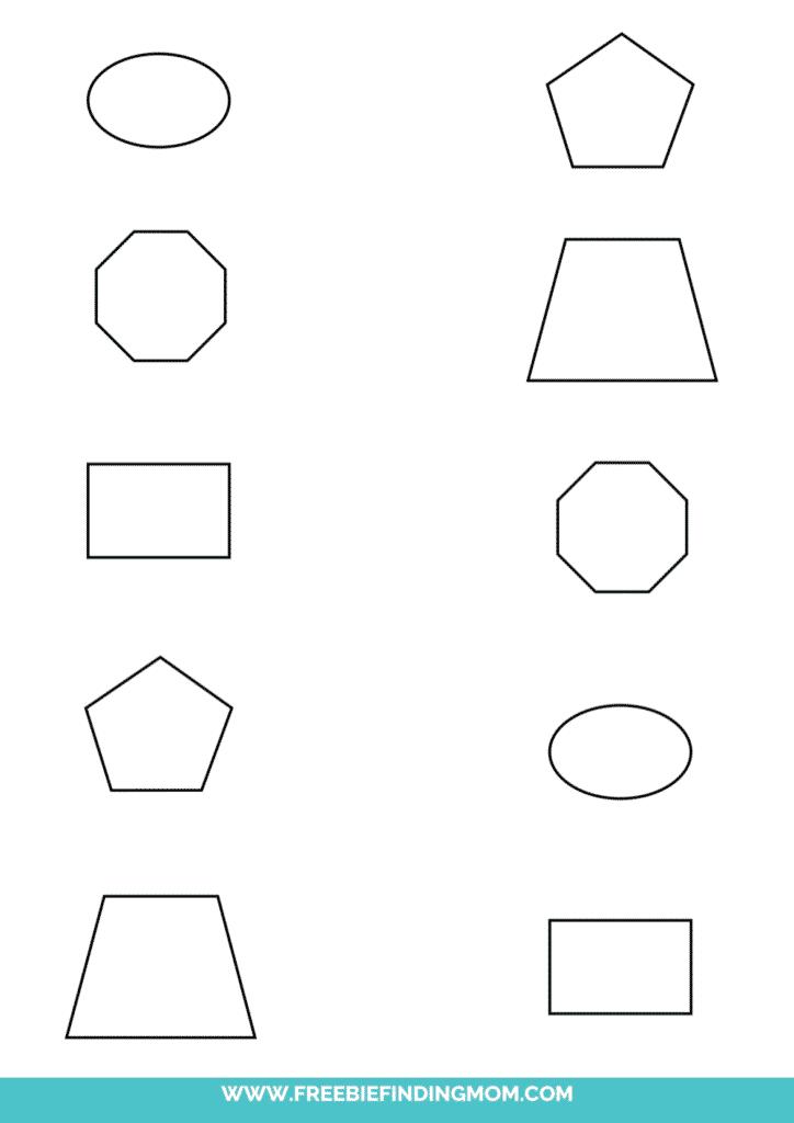 matching shapes worksheet printable