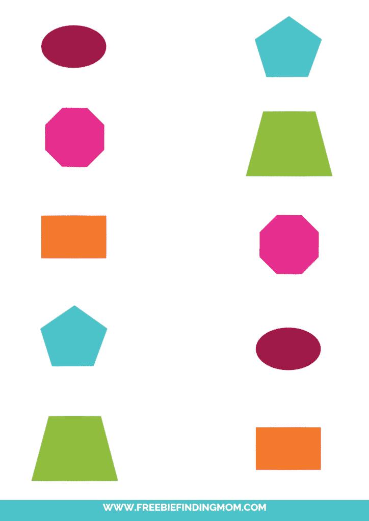 matching shapes worksheet printable color