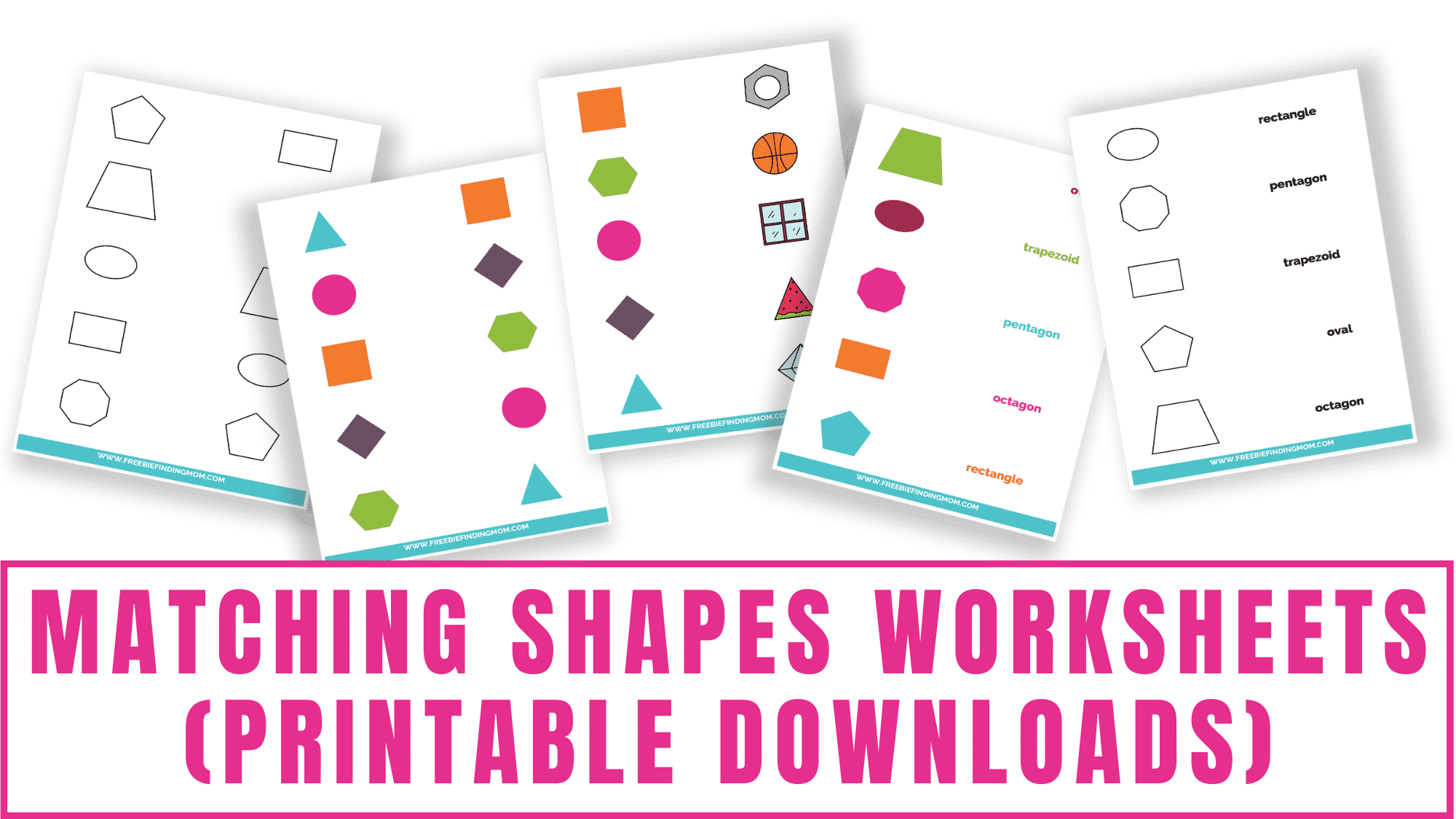 These matching shapes worksheets printable downloads are perfect for preschoolers and kindergarteners. Toddlers may need help with the matching shapes worksheets with words.