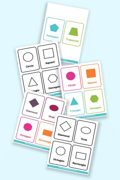 printable 2D shapes flashcards pdf downloads