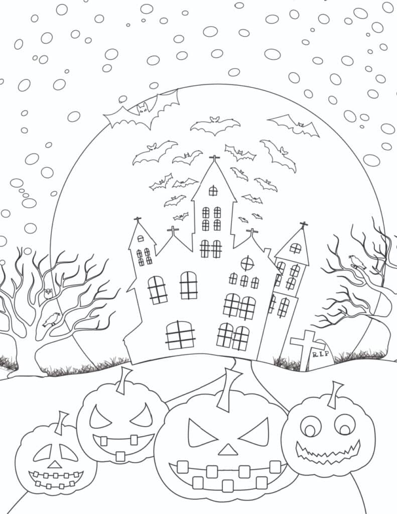 If you're feeling brave, tackle these haunted house printable Halloween coloring pages for adults PDF downloads!