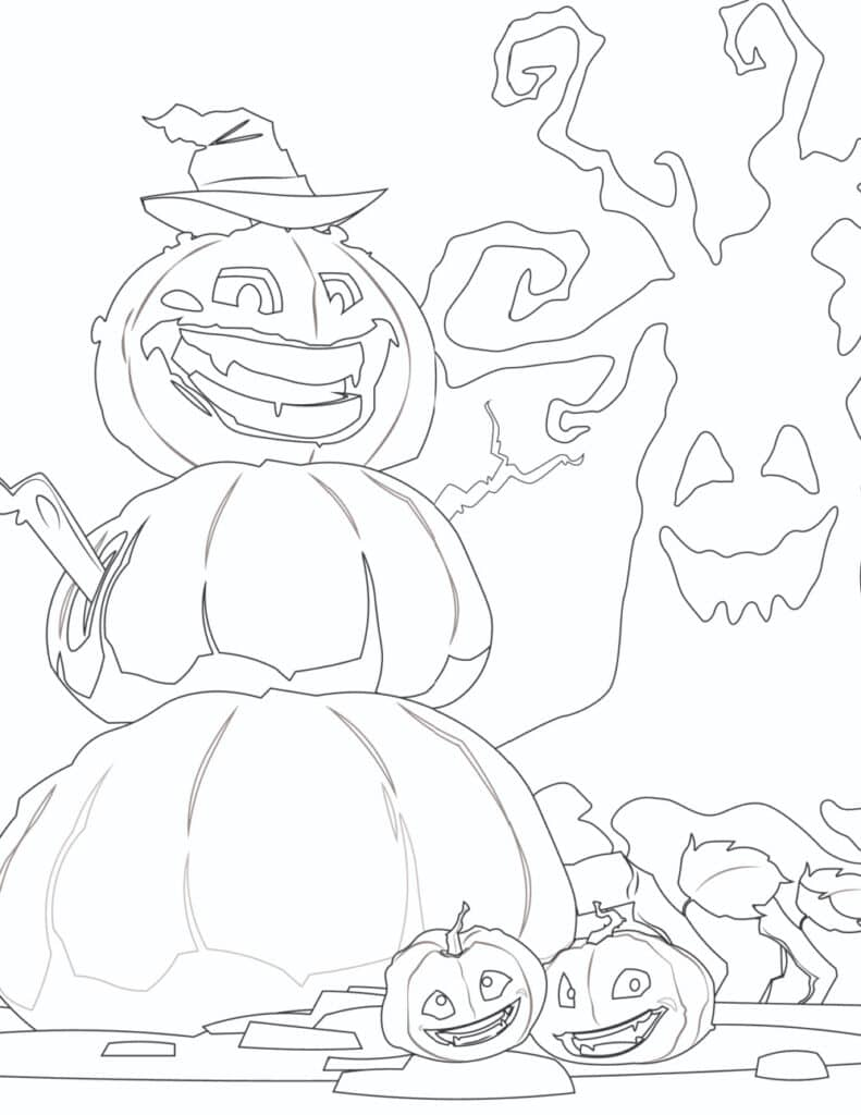 These printable Halloween coloring page for kids and adults features a not so friendly great pumpkin.