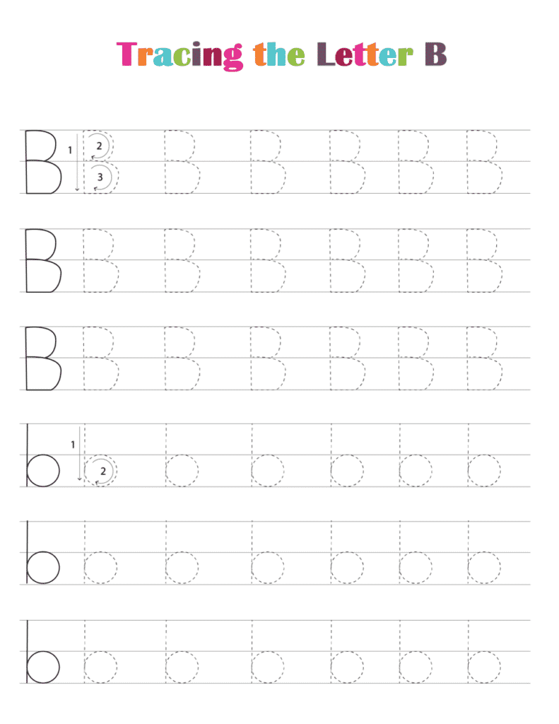 printable free letter tracing worksheets (pdf downloads) tracing letter B