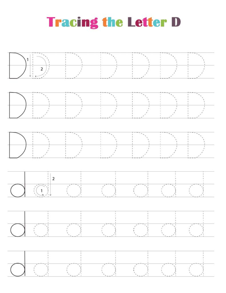 printable free letter tracing worksheets (pdf downloads) tracing letter D