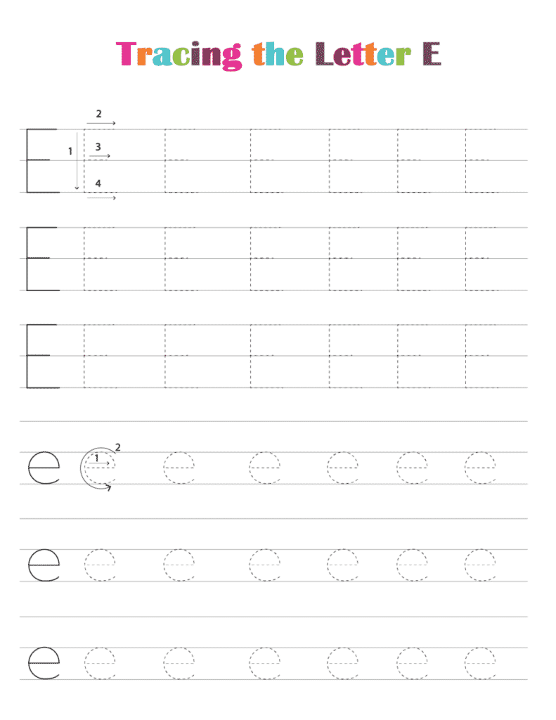 printable free letter tracing worksheets (pdf downloads) tracing letter E
