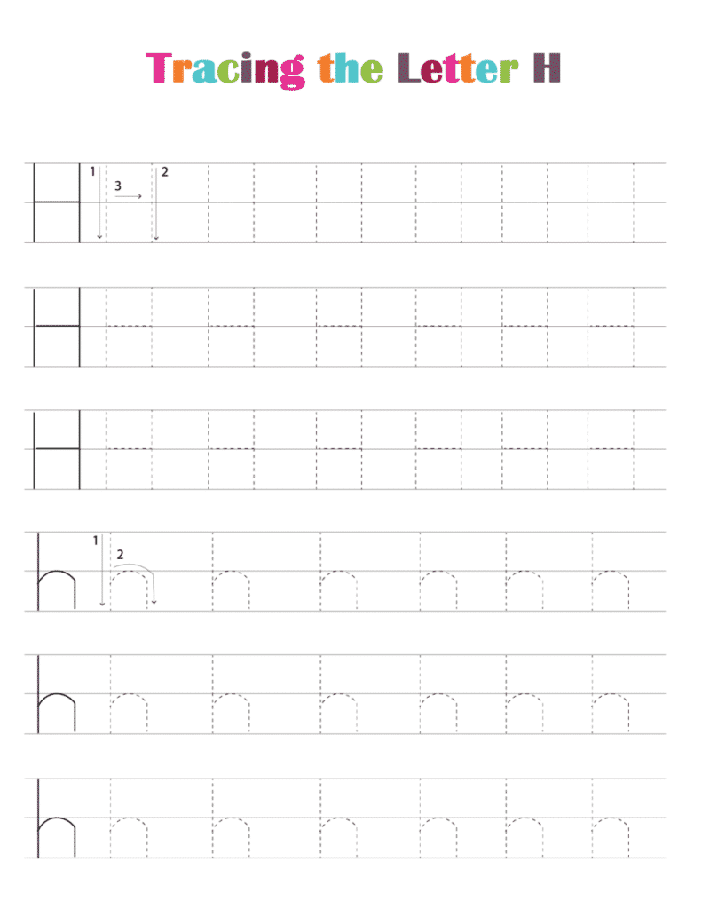 printable free letter tracing worksheets pdf downloads tracing letter H