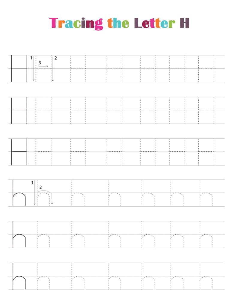 printable free letter tracing worksheets (pdf downloads) tracing letter H