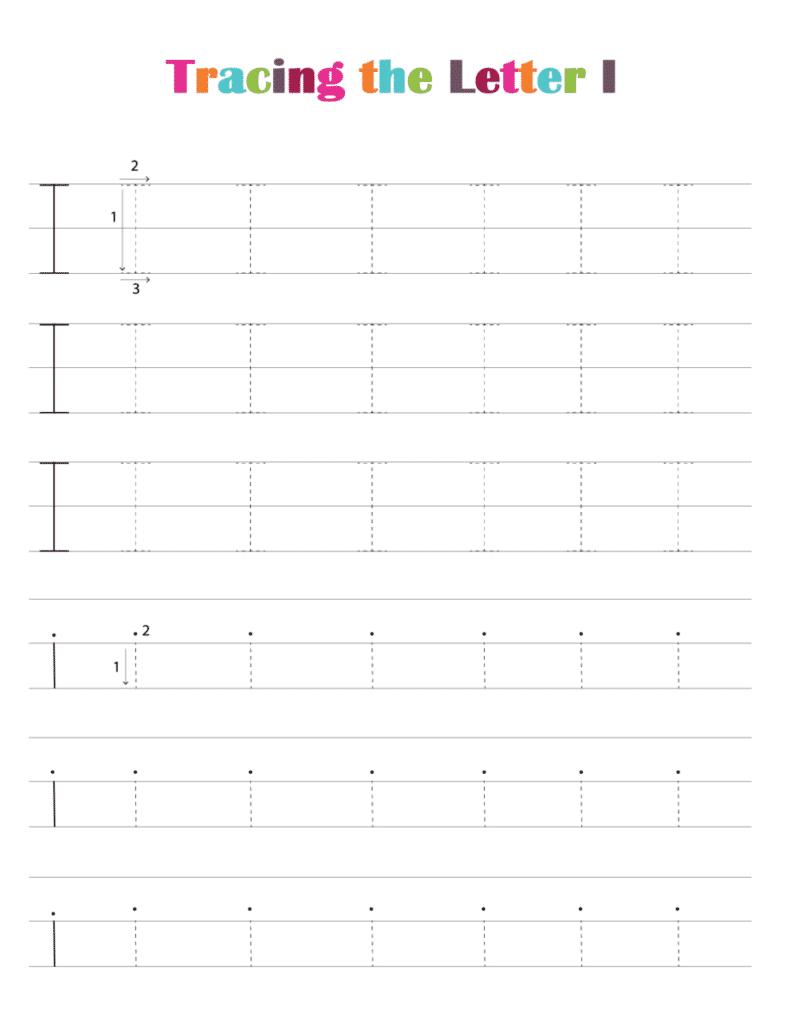 printable free letter tracing worksheets (pdf downloads) tracing letter I