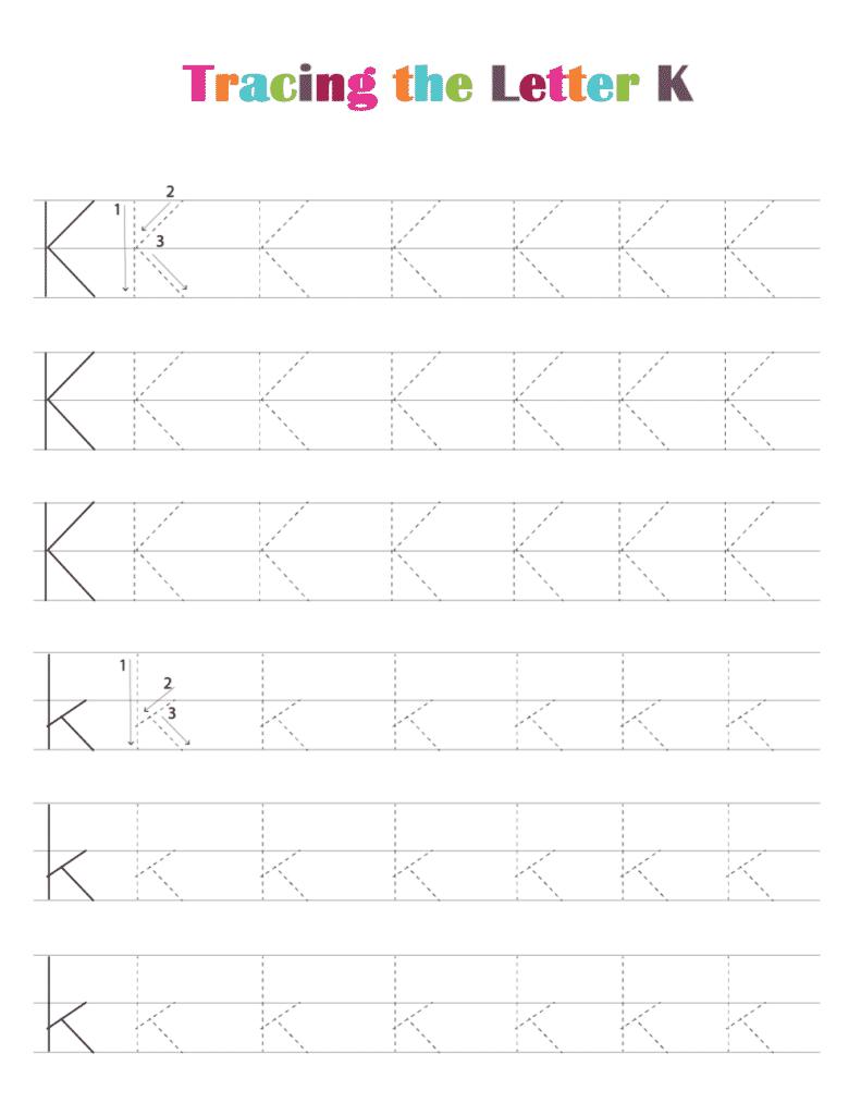 printable free letter tracing worksheets (pdf downloads) tracing letter K