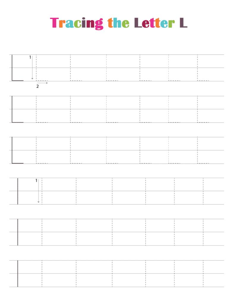 printable free letter tracing worksheets (pdf downloads) tracing letter L