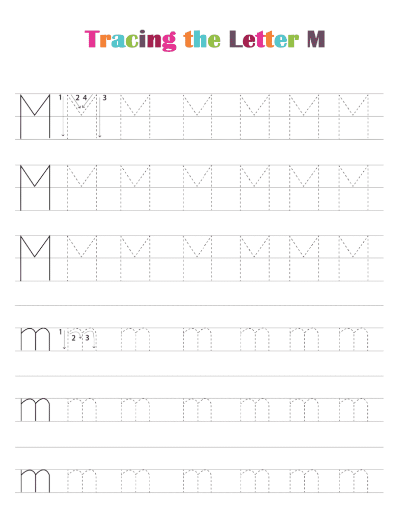printable free letter tracing worksheets pdf downloads tracing letter M