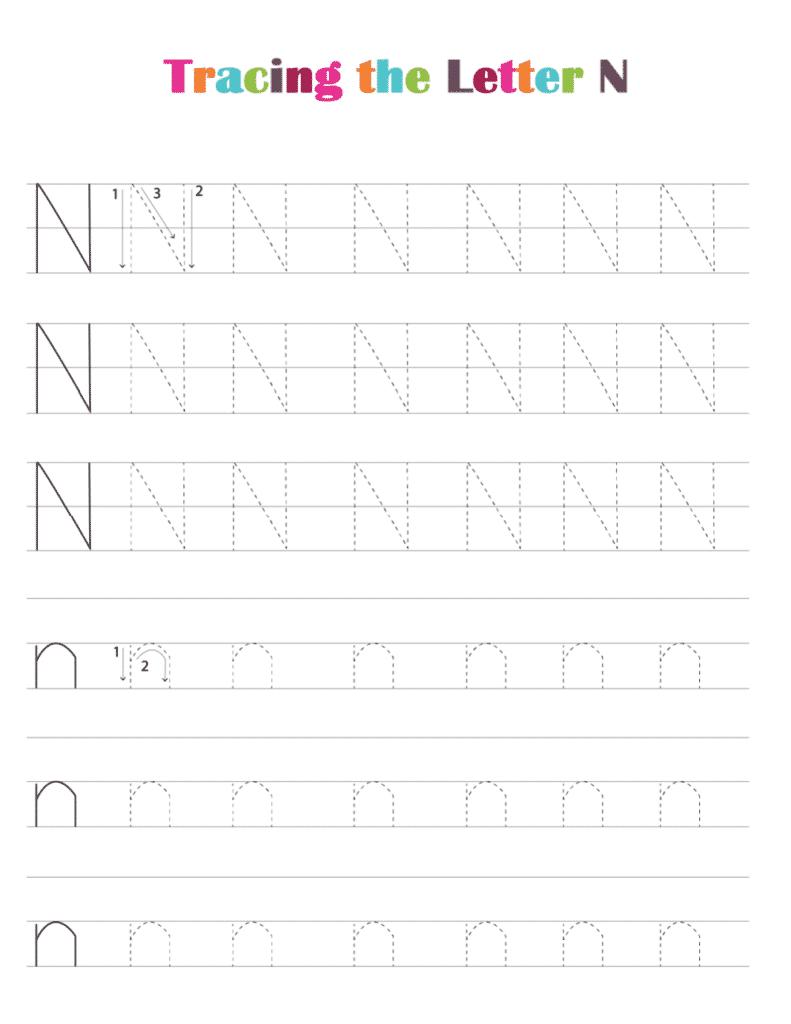 printable free letter tracing worksheets pdf downloads tracing letter N