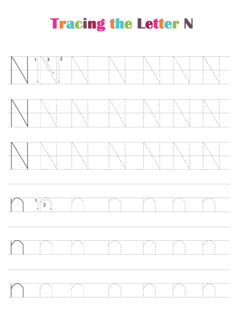 printable free letter tracing worksheets (pdf downloads) tracing letter N