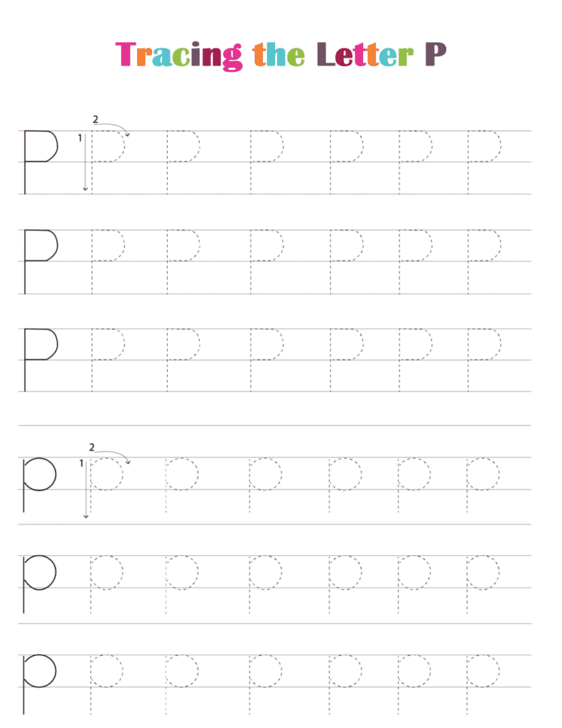 printable free letter tracing worksheets (pdf downloads) tracing letter P