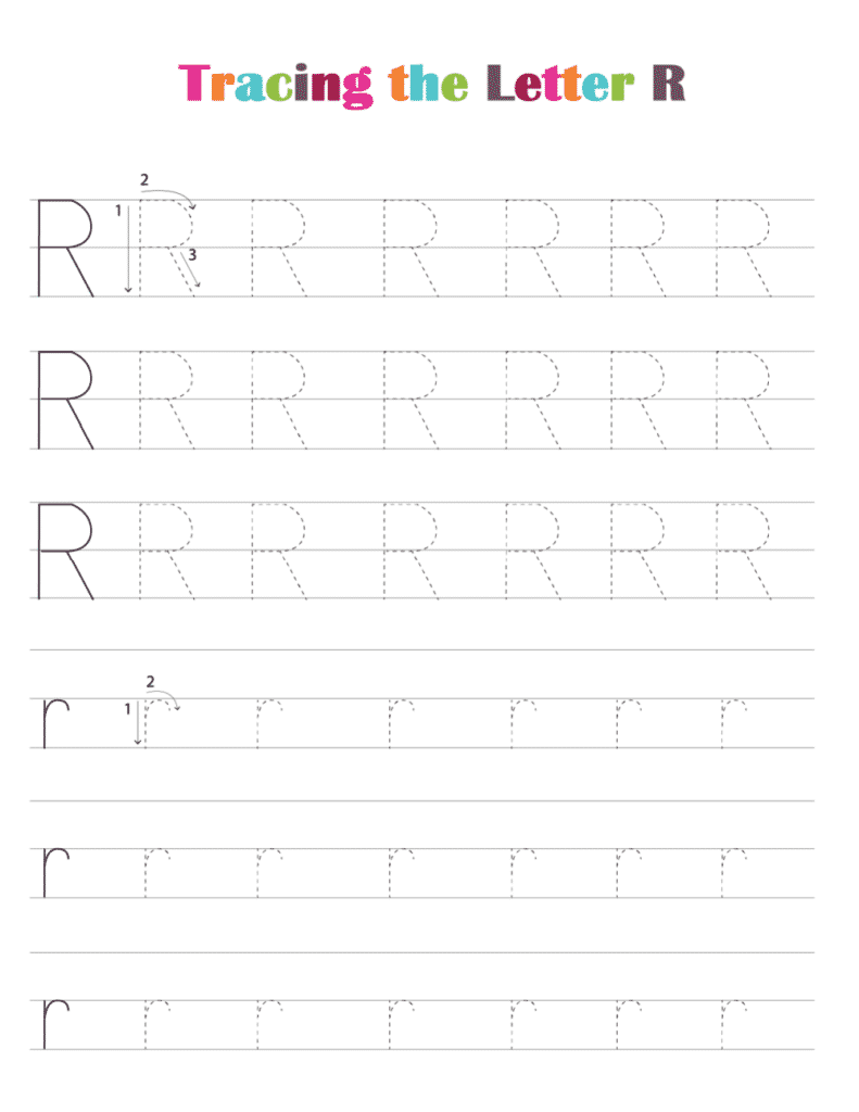 printable free letter tracing worksheets (pdf downloads) tracing letter R