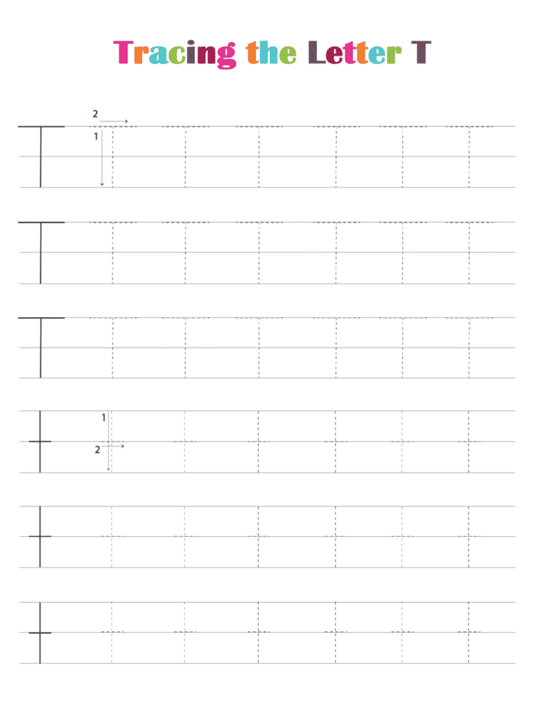 printable free letter tracing worksheets (pdf downloads) tracing letter T