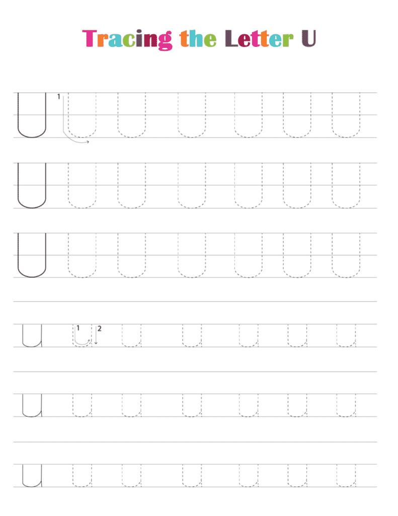 printable free letter tracing worksheets pdf downloads tracing letter U