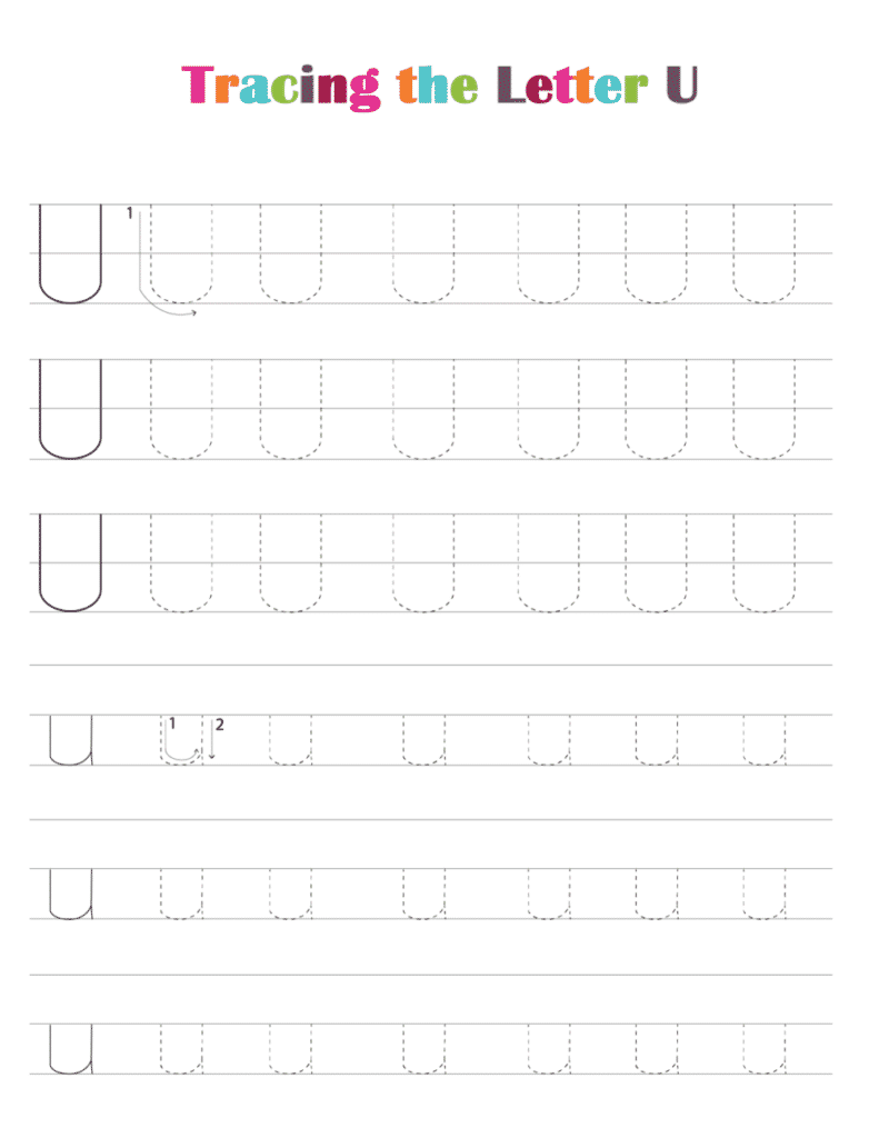 printable free letter tracing worksheets (pdf downloads) tracing letter U