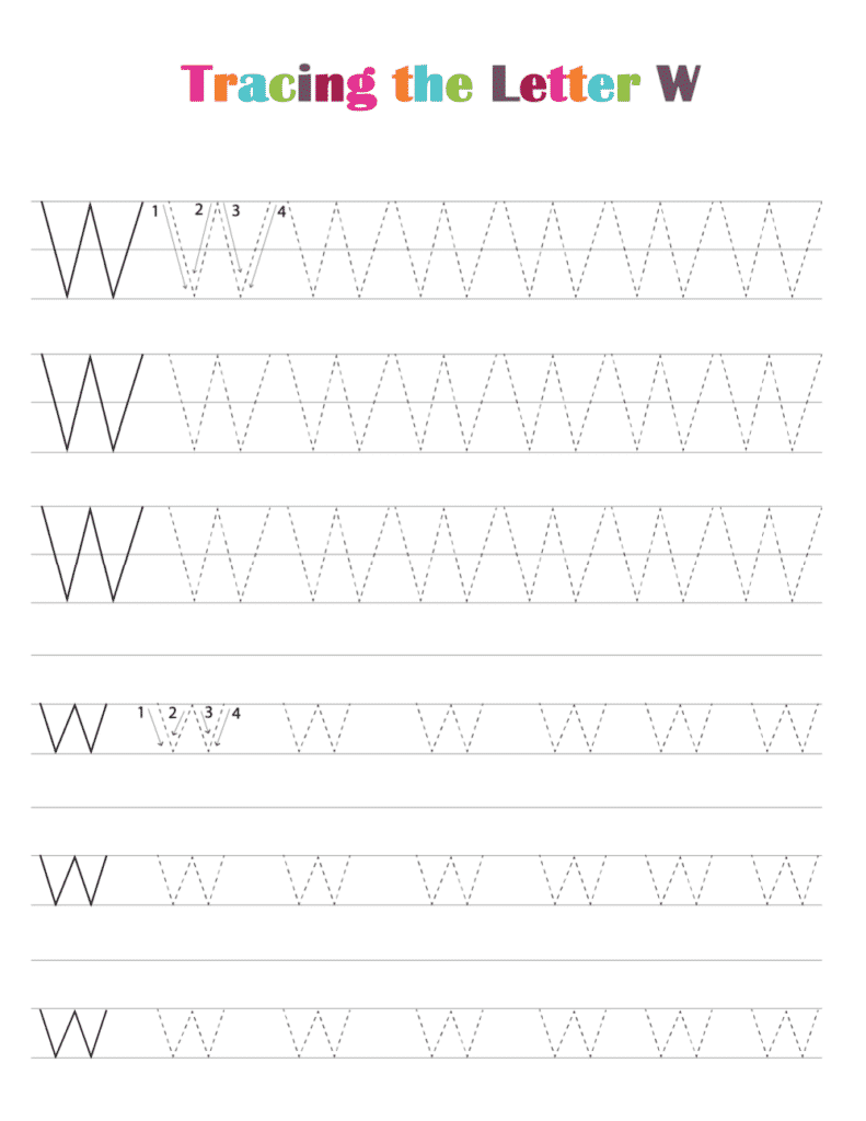 printable free letter tracing worksheets pdf downloads tracing letter W