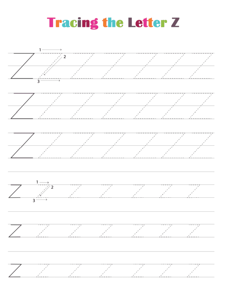 printable free letter tracing worksheets (pdf downloads) tracing letter Z