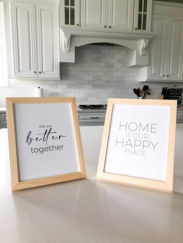These printable inspirational quotes are framed in cheap frames from Amazon but they add a beautiful touch to my kitchen.