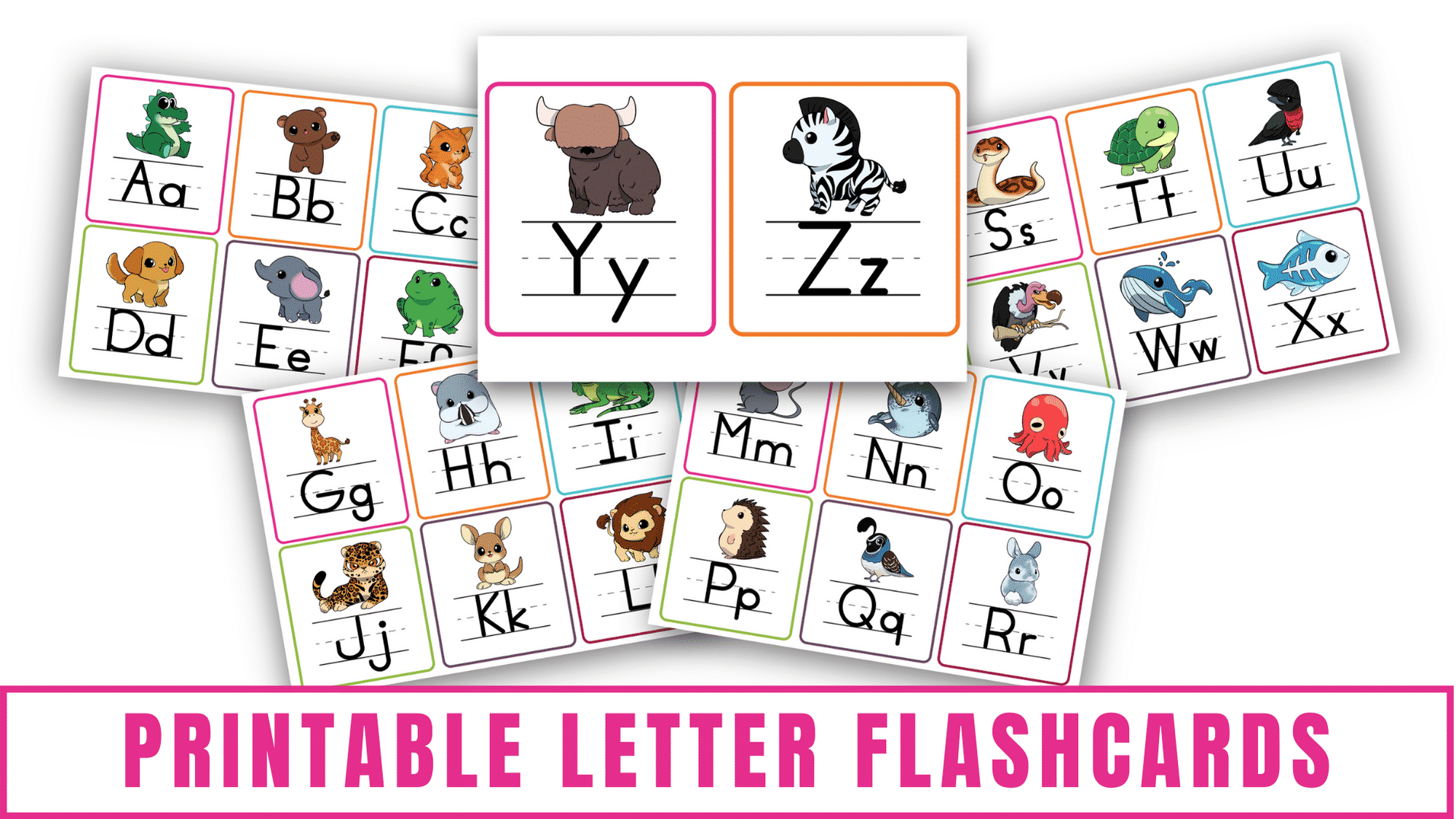 These printable letter flashcards pdf downloads are a highly effective way to teach kids letter recognition of uppercase and lowercase alphabet letters, letter sounds, and words that start with letters of the alphabet.