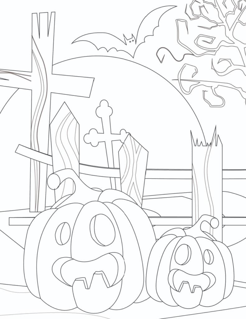 Even the jack-o-lanterns look scared in these frugal, not free, printable scary Halloween coloring pages for adults featuring a graveyard.