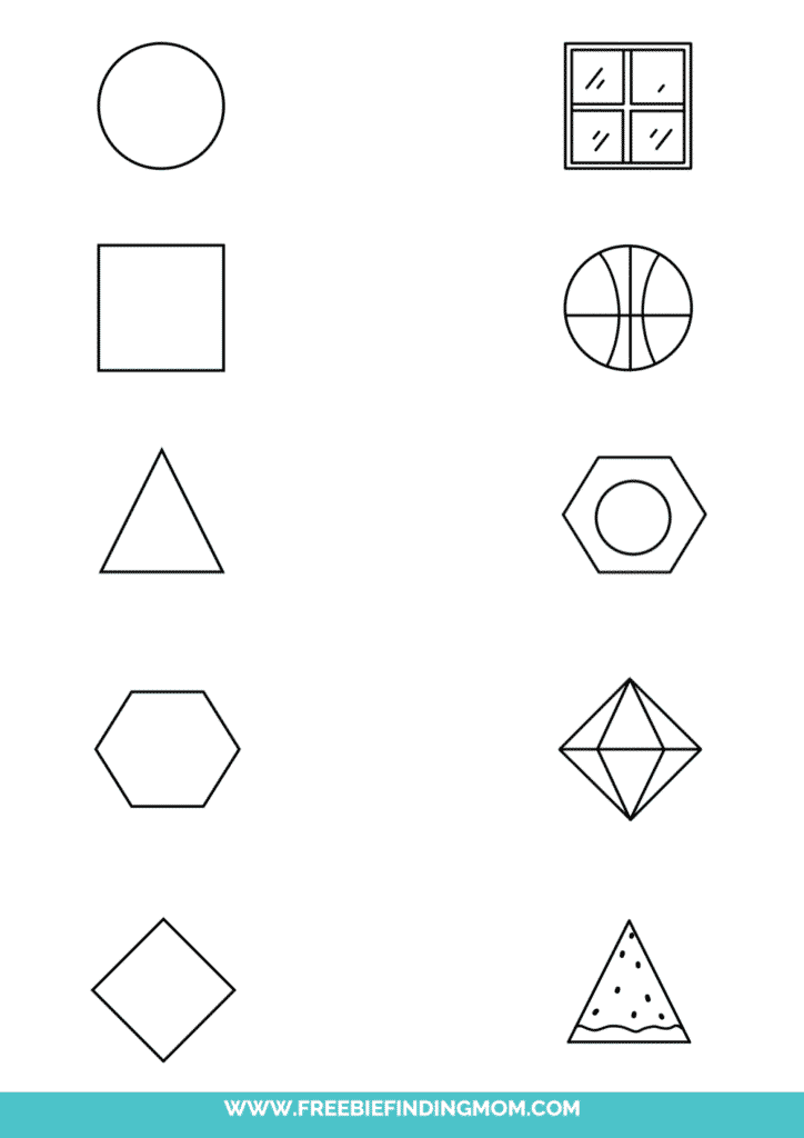 printable shape matching worksheet objects