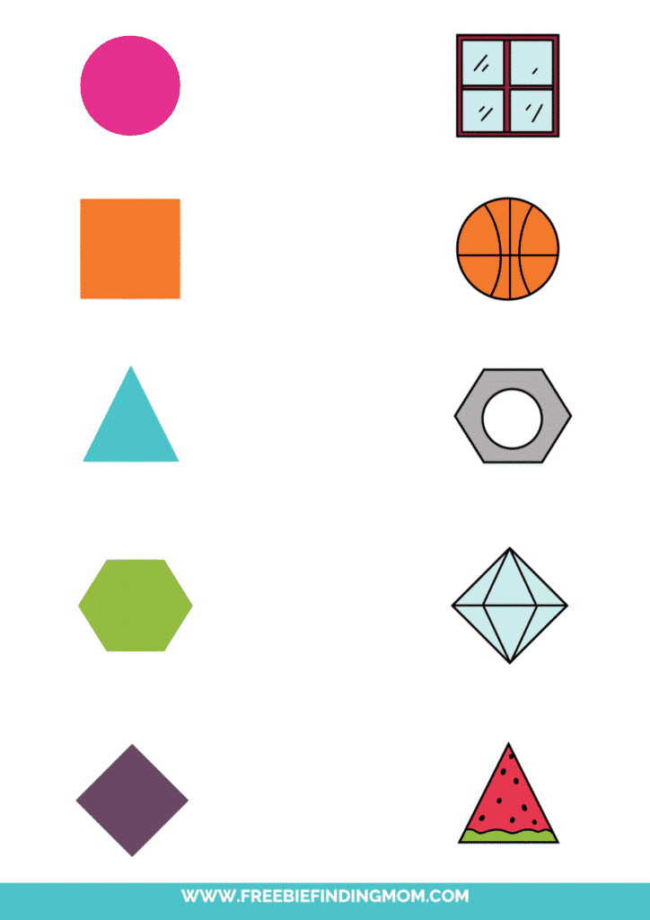 printable shape matching worksheet objects color