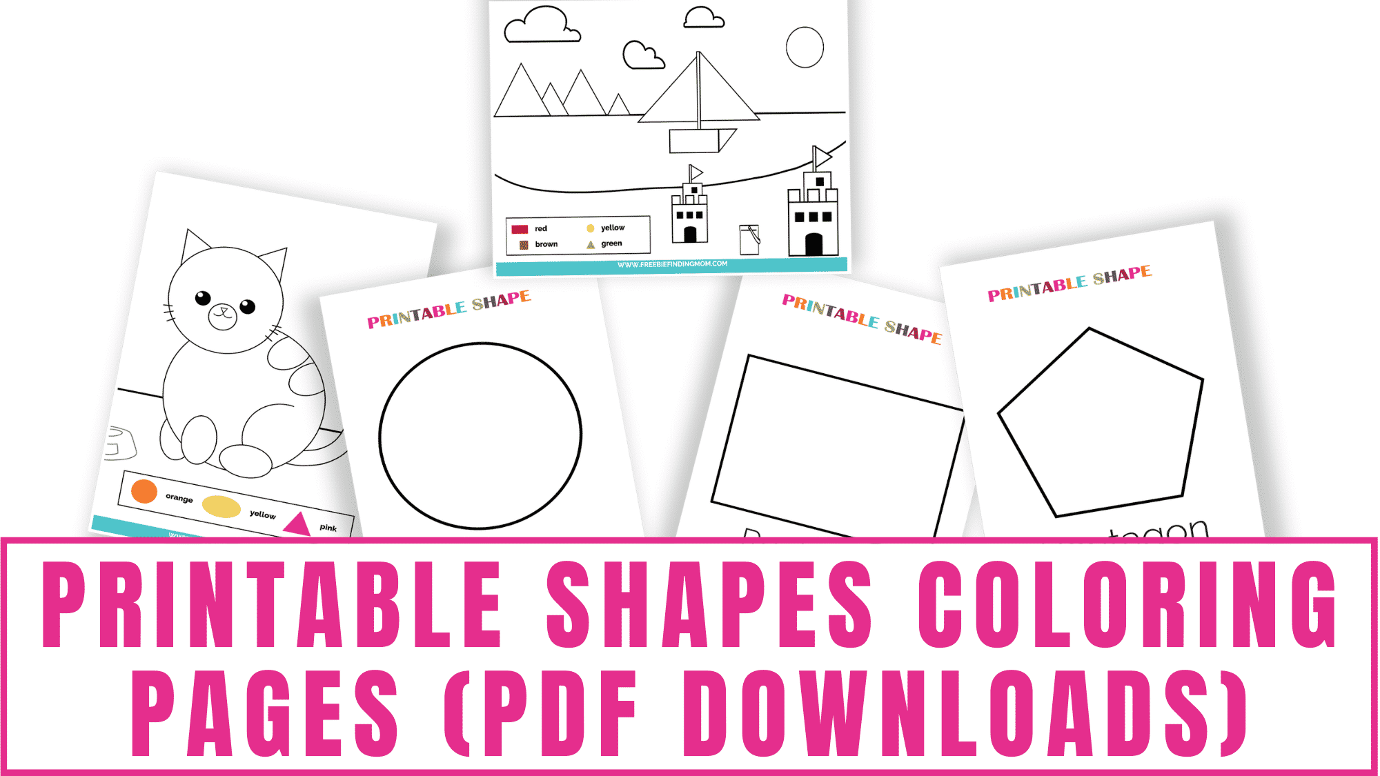 These printable shapes coloring pages pdf downloads make learning shapes fun and easy. Whether you have a toddler or a kindergartener you'll find a color shape worksheet that's perfect for them.
