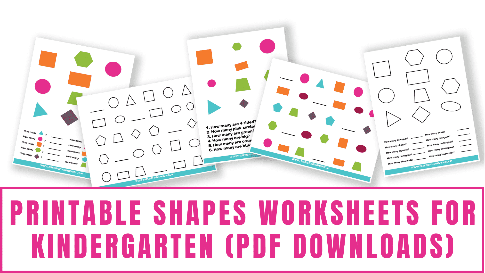 Help your kid practice shape matching and shape counting with these printable shapes worksheets for kindergarten pdf downloads.