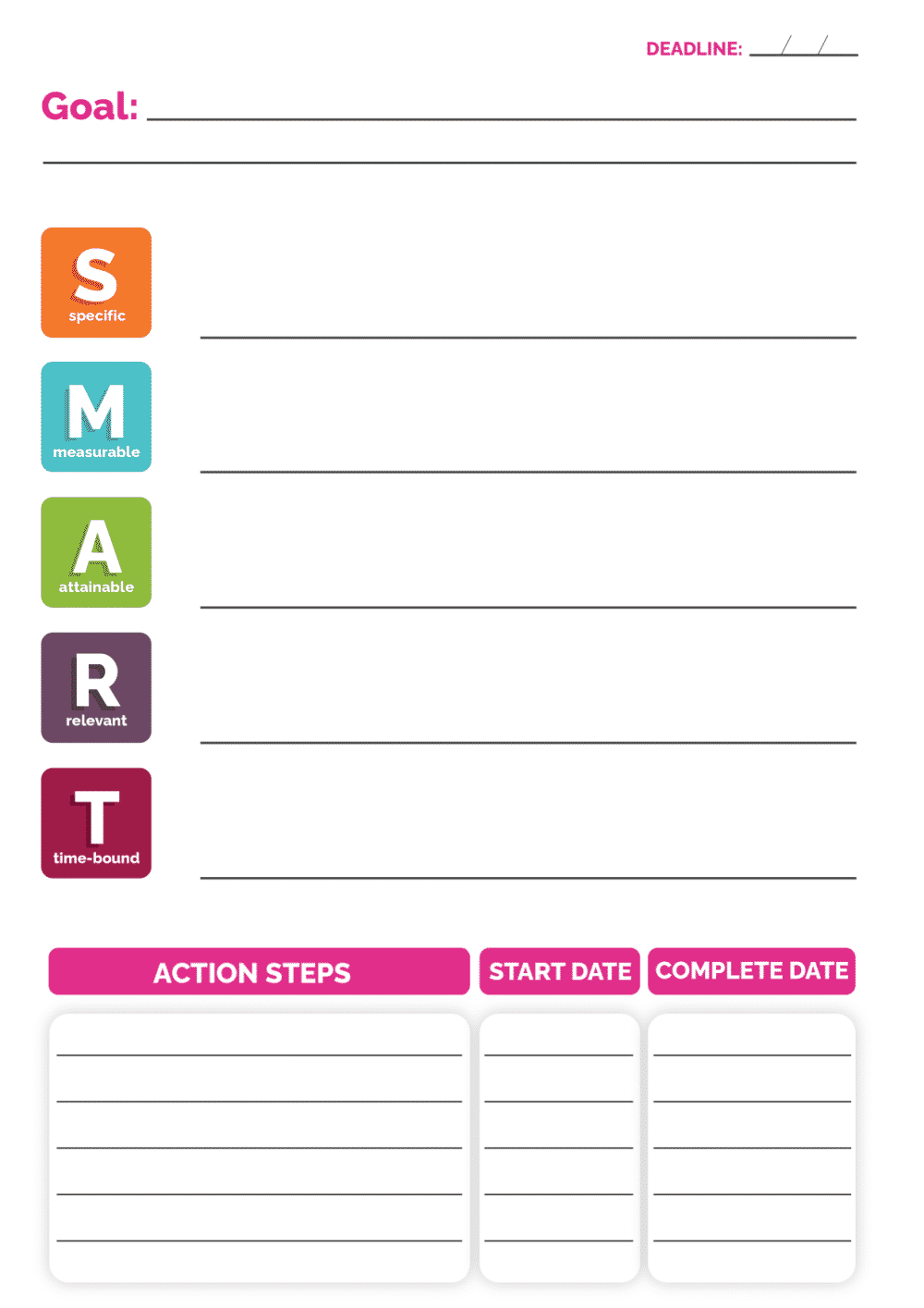 This printable SMART goals template can help you stay on track and achieve your goals.