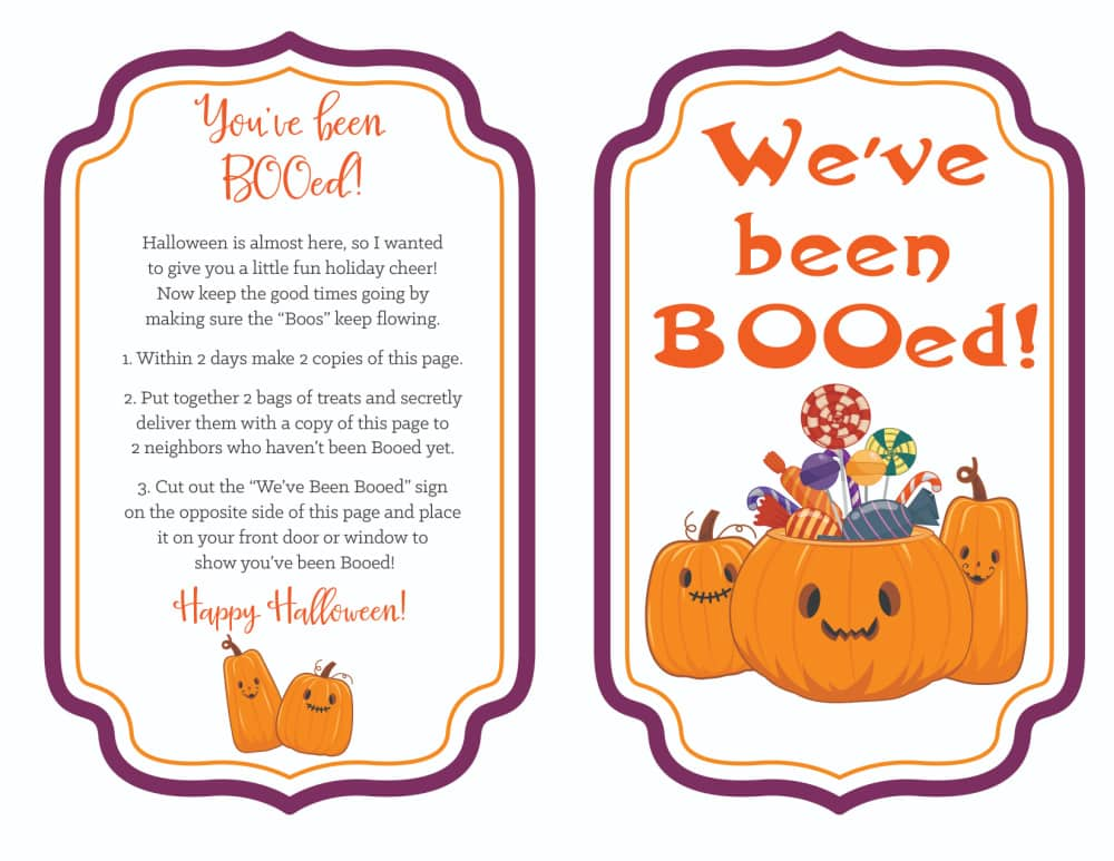 This printable you've been booed template is a little less spooky and a little more sweet with jack-o-lanterns and candy!