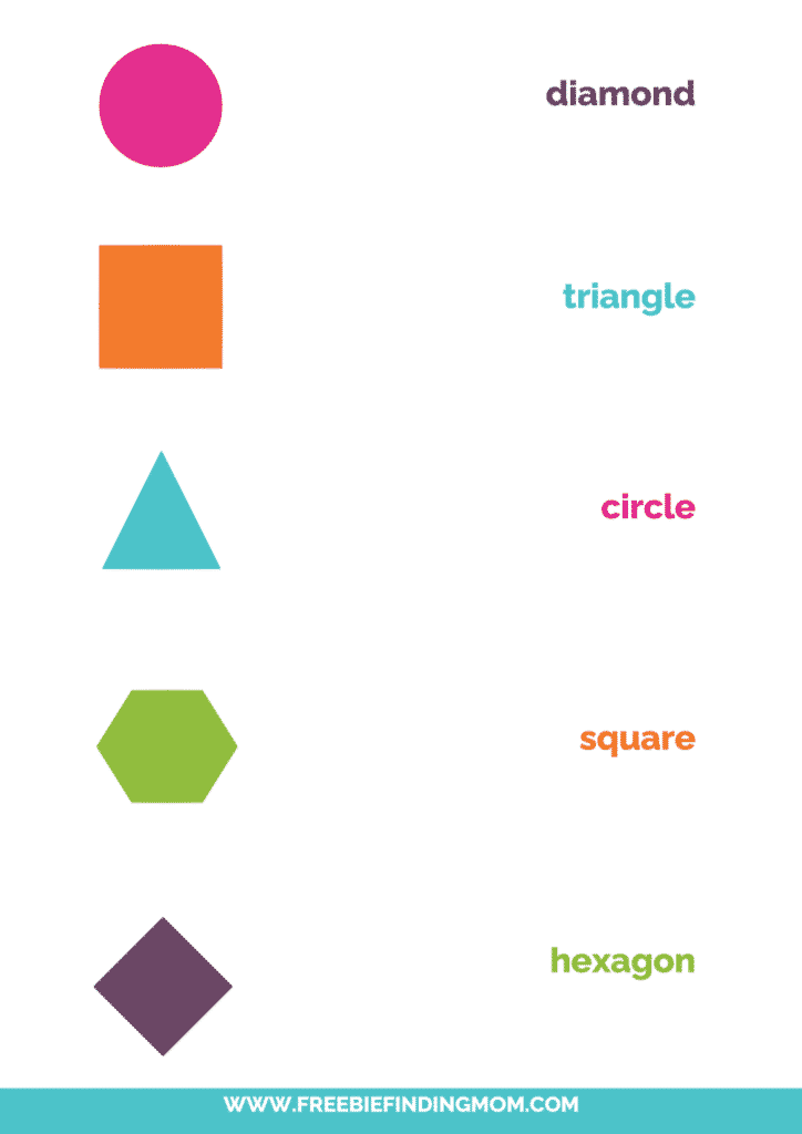 shape matching printable words color