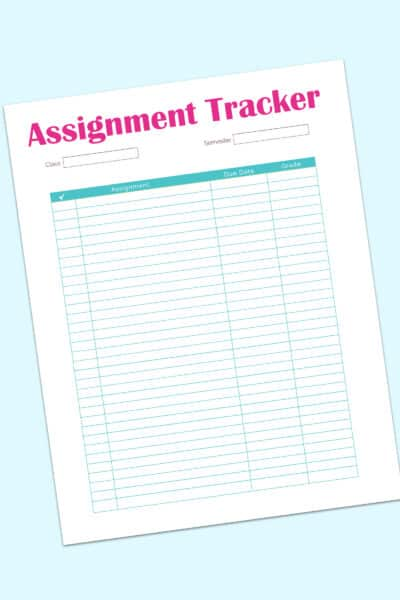 student assignment tracker template printable