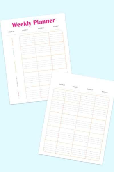 weekly planner template printable PDF download