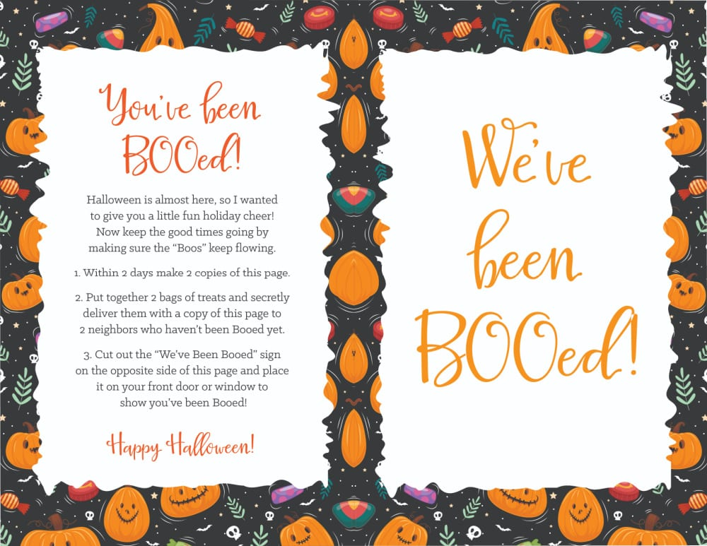 This you've been booed printable is filled with Halloween spirit including jack-o-lanterns, candy, and skulls!