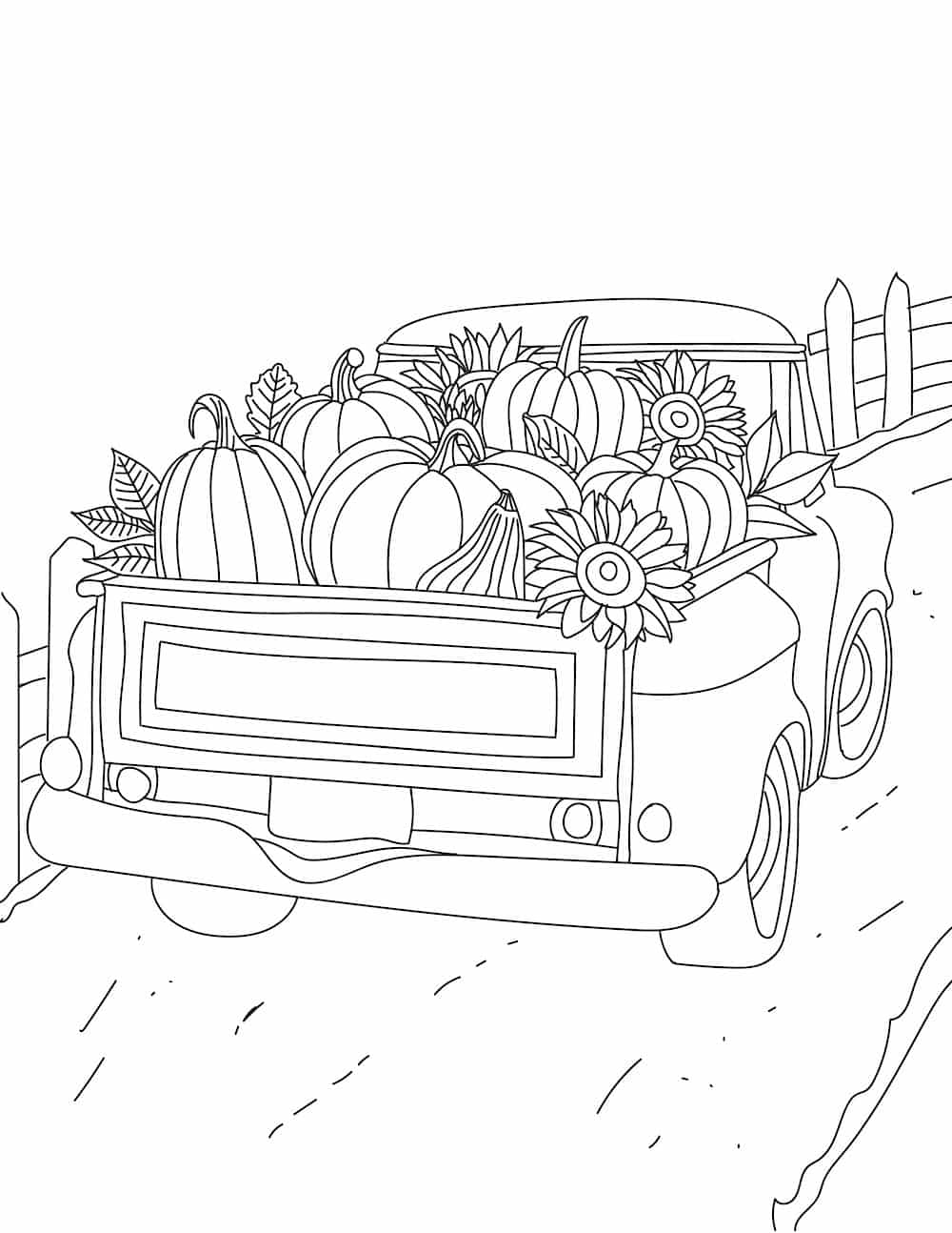 Need easy fall coloring pages for adults? This fall coloring page of an old truck loaded with pumpkins, gourds and sunflowers is the perfect fall activity for adults and kids.