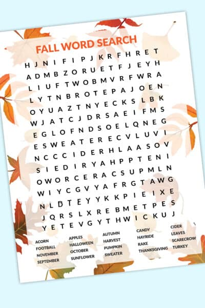 free fall word search printable