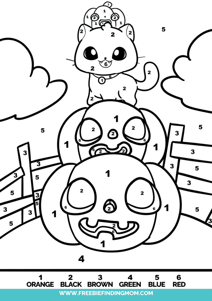 These free Halloween color by number coloring pages aren't just fun, they are also educational.