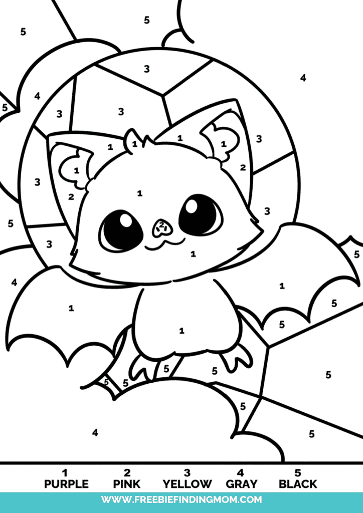 Let your dreams, and your nightmares, take flight just like the bat in these free Halloween color by number for adults and kids.