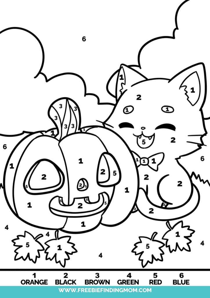 In these free Halloween color by number printables, a cat and a jack-o-lantern make the cutest BFFs you've ever seen!