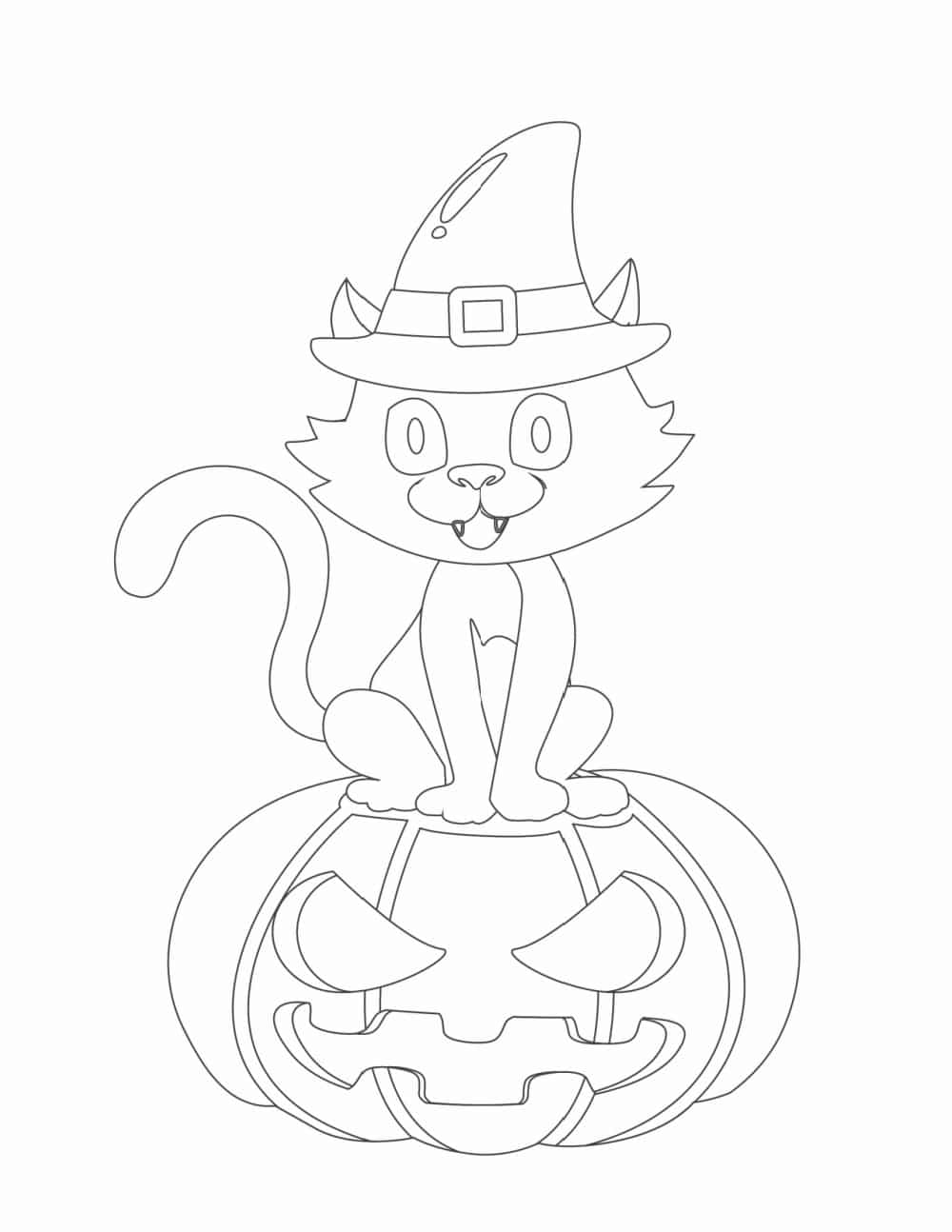 Who needs the cat in the hat when you can have the cat in the witch's hat as shown in these free Halloween coloring pages for kids?
