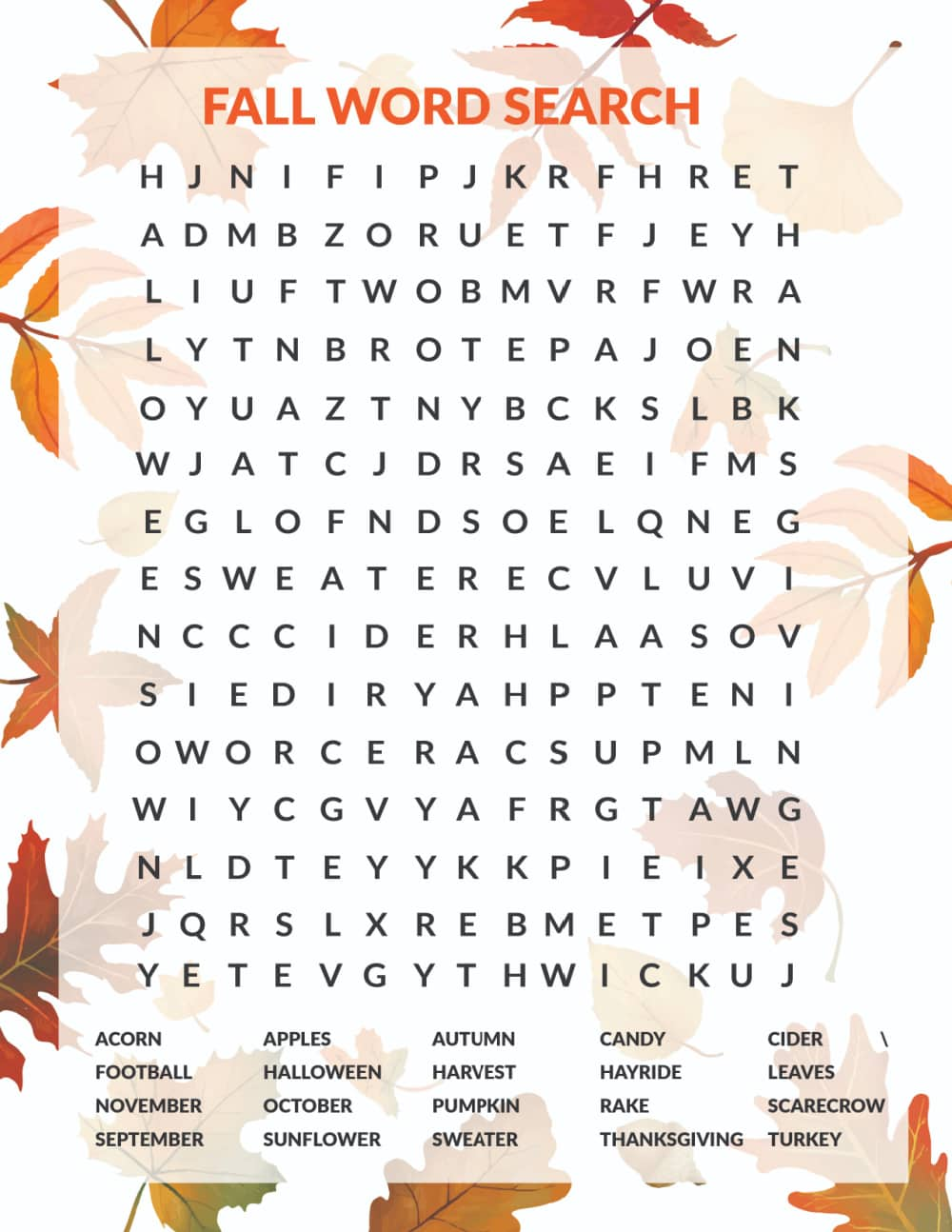Challenge your kid's brain and have a little fall fun at the same time with this free fall word search printable.