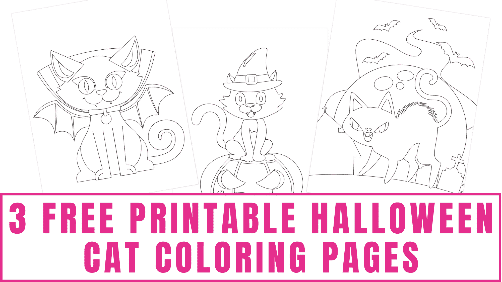 These free printable Halloween cat coloring pages are a good combination of cute and scary.
