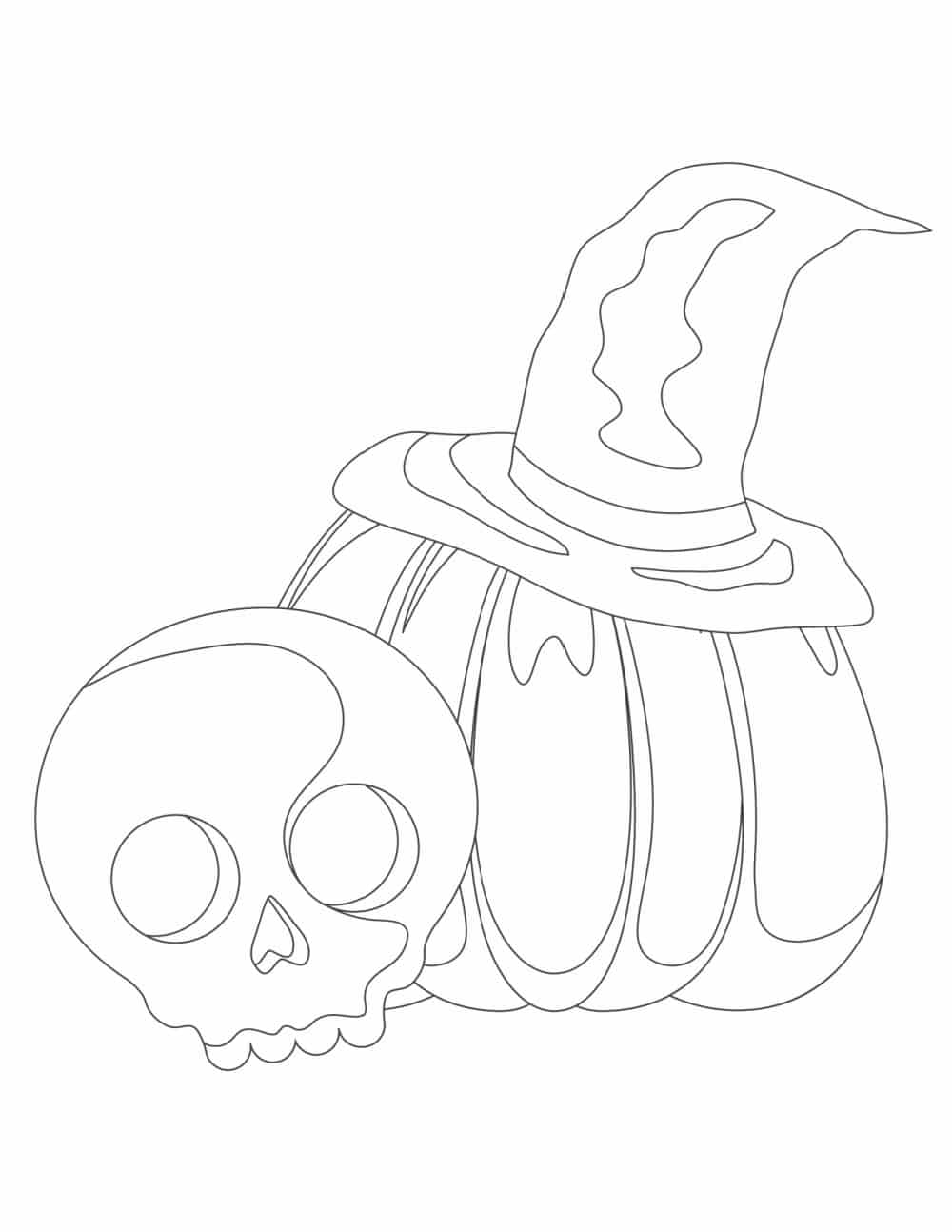 The skeleton and spooky pumpkin in these free printable Halloween coloring pages easy for kids will have you thinking creepy thoughts which makes them better suited to be Halloween coloring pages for adults or older kids.