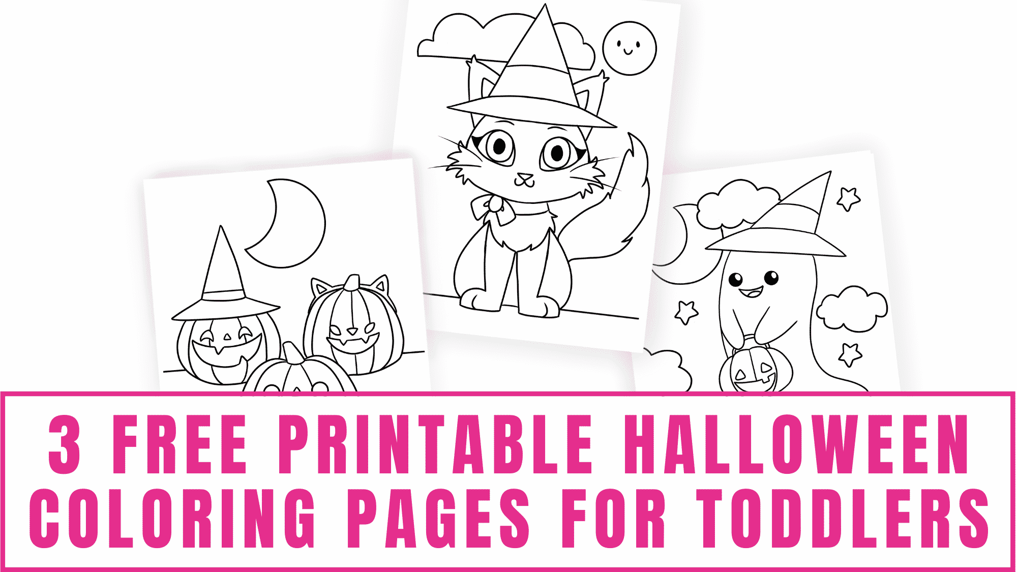 These cute Halloween coloring pages make perfect free printable Halloween coloring pages for toddlers or even older kids.